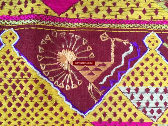antique vintage phulkari bagh traditional Indian textile embroidery silk
