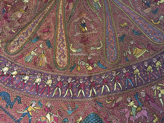 ANTIQUE FIGURATIVE AMLI PASHMINA KASHMIR SHAWL