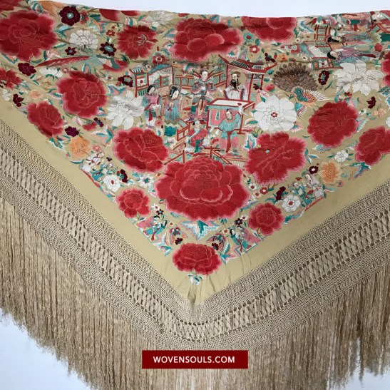 1157 RARE ANTIQUE DOUBLE SIDED EMBROIDERY - FIGURATIVE WITH FACES - MANILA MANTON SILK SHAWL 10