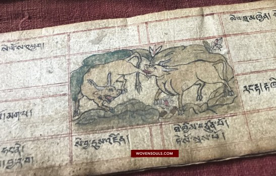Antique Buddhist Manuscript of Zodiac Animals
