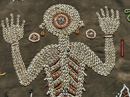 Antique Dayk Beaded Shell Textile Lau Witi kau or Lau Wuti Kau