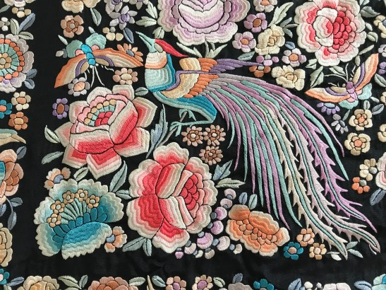 Antique manila mantone cantonese embroidery shawl