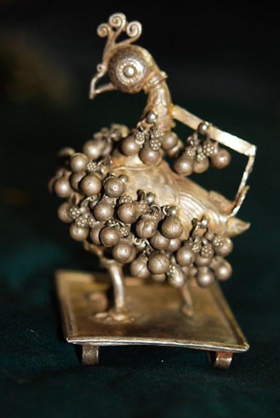282 - silver peacock ornament