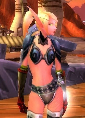 A Blood Elf female demonstrating the female armor issue