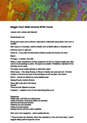 Course requirements Lesson 1