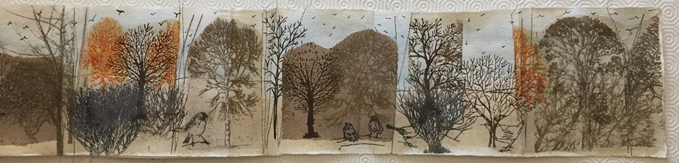 Linda Burgess. I've not been idle with this WOW book 4. Here is my take on a bit of Sue Brown and a bit of Amanda Hislop. Book of trees and birds.
