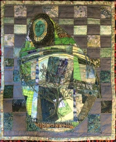 "Nita Penfold. Scrap Lady: Greening 17"" x 21"" including Kozo Tree."