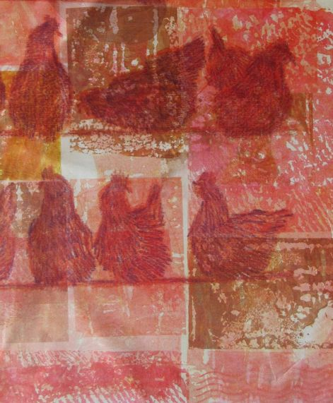 Annette Turnbull. I bought a heat press last year after attending a fab workshop at Leicester Print Studios. These are some of my experiments/happy accidents. The chickens were done with transfer wax crayons on top of a background of patched gelli printed transfer paint squares. The lace was used as a resist initially but as the transfer paint coated the strips of lace I re-printed with them and got this lovely background which is begging to be stitched into. The tulip flowers were painted picture like onto paper. Some of the leaves were printed from real leaves and some were cut from painted papers. Lynda Monk's workshops have given me so many more ideas - I can't wait for my broken shoulder blade to heal so that I can get pressing.........