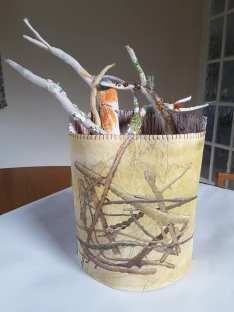 This is my experiment with combining Maggie's vessel in book one with the left over papers from Amanda Hislop's trees. It is way too big! I made it as a container for some twigs I have been making for another project.