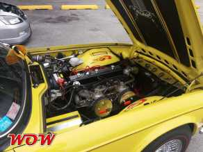 Yellow Triumph Engine Bay