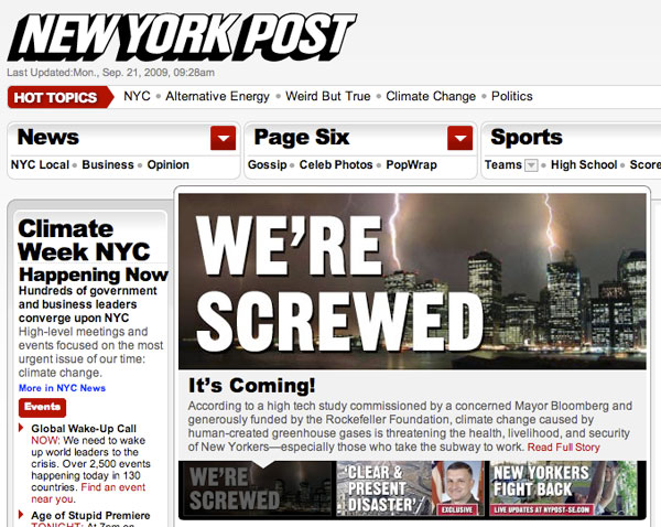"""""""We're Screwed"""" New York Post Special Edition Tells Truth About Climate Change and How It Will Affect City, World"""