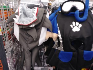 dog shark costume and dog SCUBA diver costume