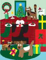 pets in front of holiday mantel illustration