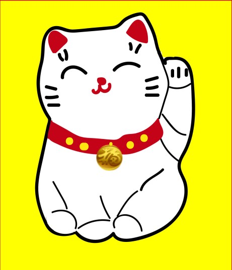 lucky waving cat artwork by Barbara Bullington