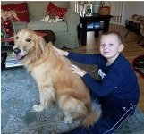 Nephew with dog of another one of his aunts..