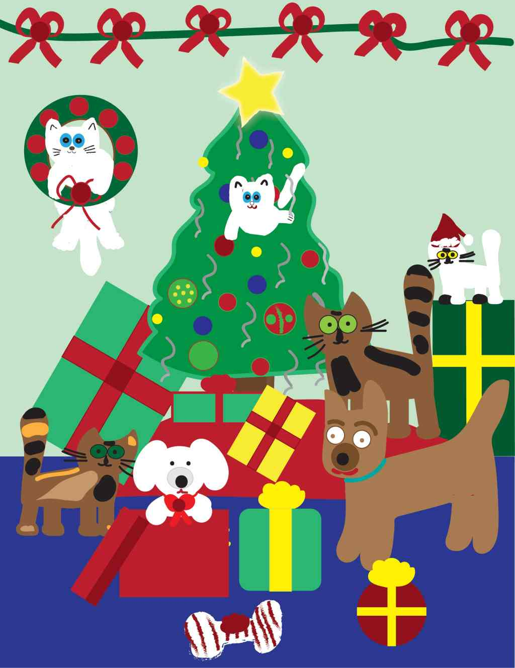 cats and dogs at Christmas illustration