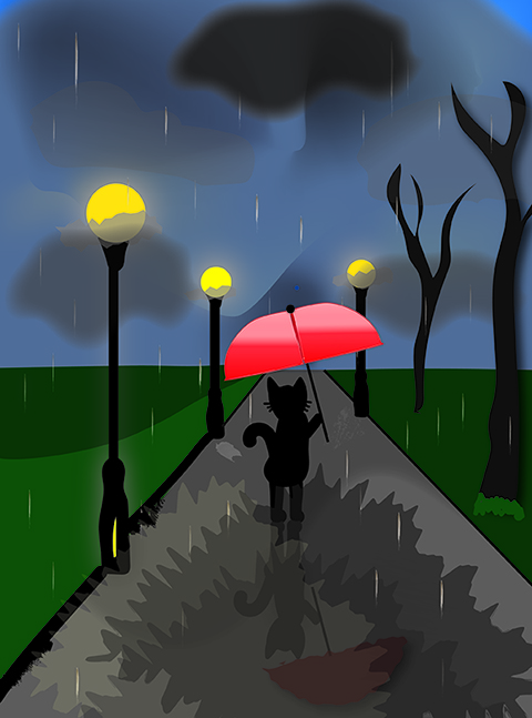 Black cat in rain with red umbrella illustration