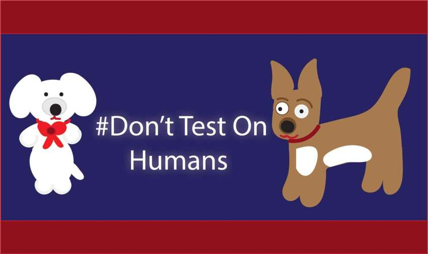 #Don't Test on Humans graphic