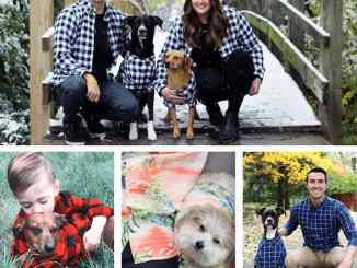 Dogs with flannel shirts matching owners