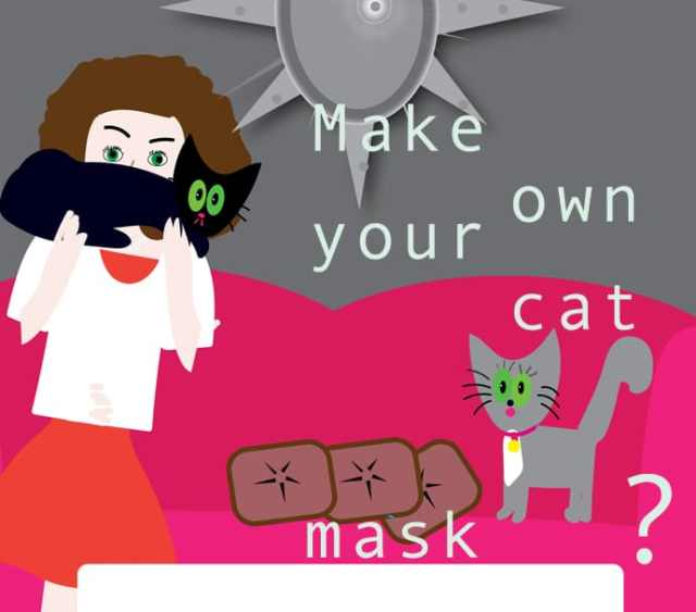 woman with cat over face graphic
