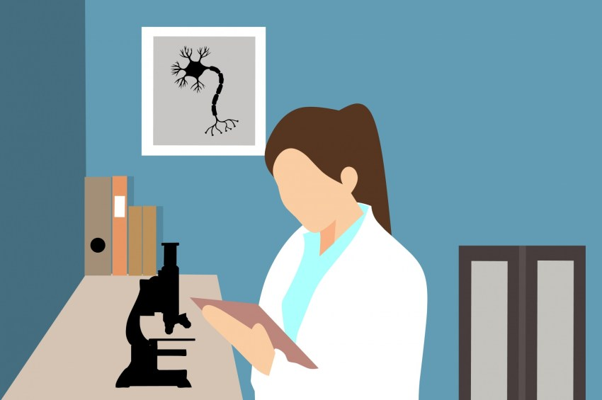 woman doing research graphic