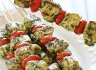 Chicken & Pesto Kebabs | http://www.skinnytaste.com/2013/06/grilled-pesto-chicken-and-tomato-kebabs.html