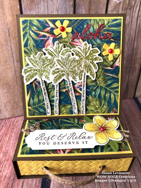 Tropical Oasis Easel Box Card with Drawer, Susan Levasseur, WOW NOLA Creations, Stampin' Up!