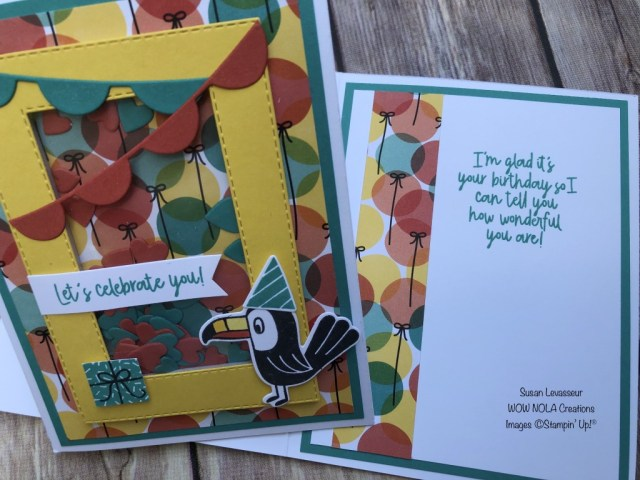 Bonanza Buddies Shaker Card, Susan Levasseur, WOW NOLA Creations, Stampin' Up!