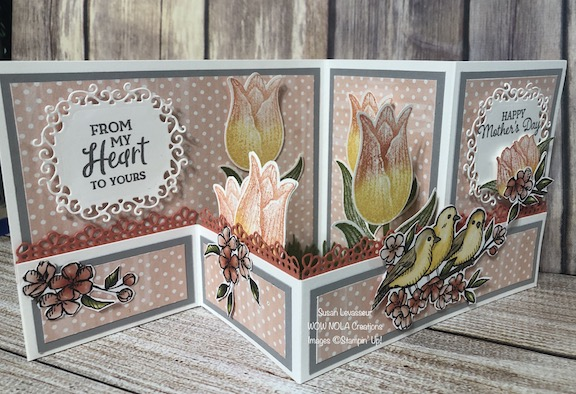 Mother's Day Z-fold with Timeless Tulips, Susan Levasseur, WOW NOLA Creations, Stampin' Up!