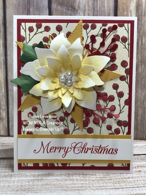 Ready for quick, easy, but very dramatic Christmas card? Poinsettia Petals is a new bundle in the Aug-Dec Mini Catalog from Stampin' Up!