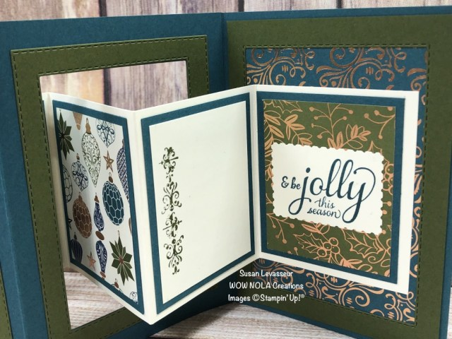 Interlocking Accordion Fancy Fold, Christmas Gleaming, Susan Levasseur, WOW NOLA Creations, Stampin' Up!