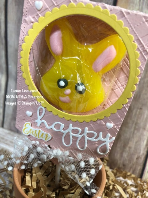 Easter Bunny Lollipop Treat, Susan Levasseur, WOW NOLA Creations, Stampin' Up!