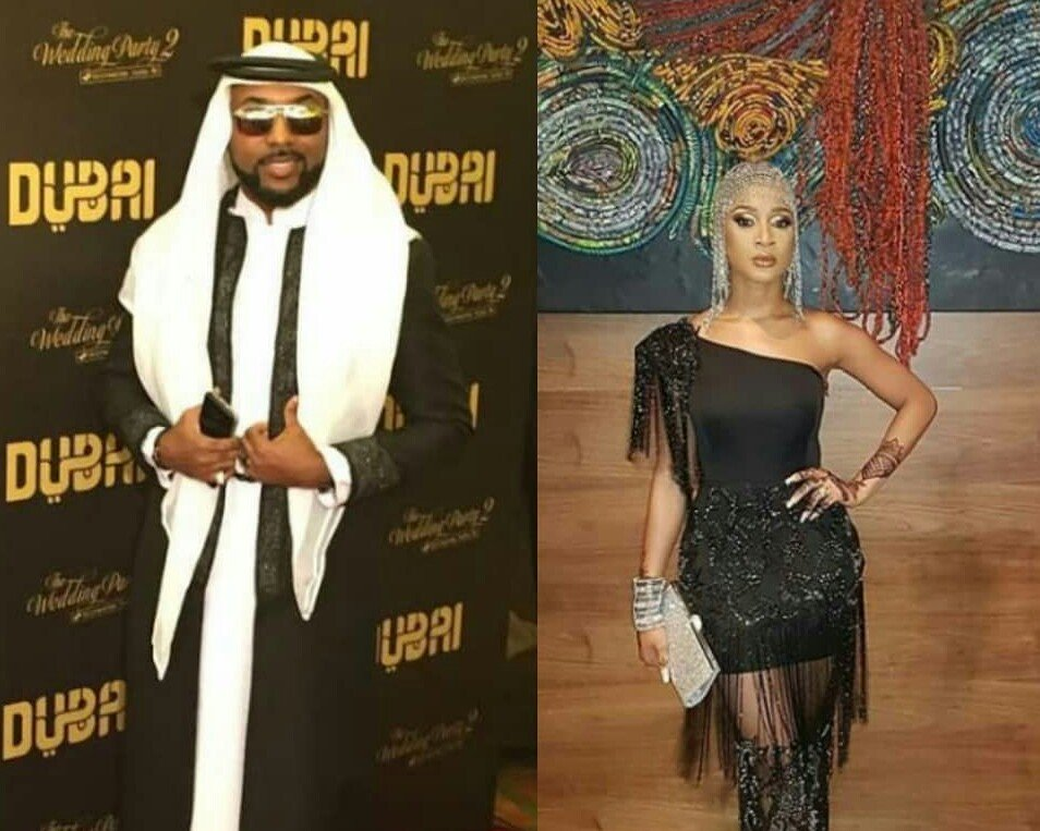 BankyW & Adesua Etomi step out in style for the Arabian themed premiere of 'The Wedding Party 2' (photos)