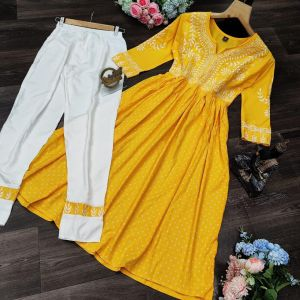 latest cotton gown with Reyon pent