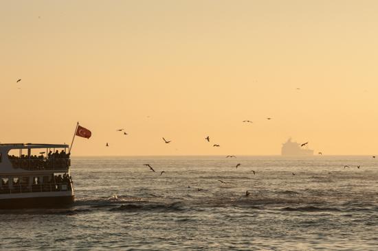 Traghetto a Istanbul con bandiera e gabbiani