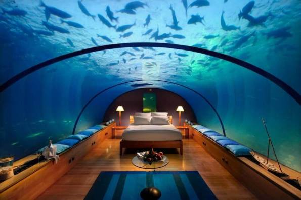 7. Conrad Hilton (Rangali, Maldives) - Sleeping with fish