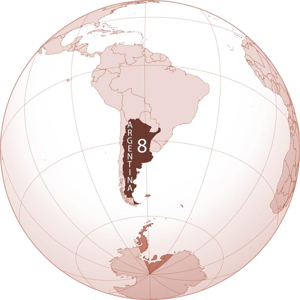 Argentina World Map - by Addicted04/Wikimedia - with Natural Earth Data