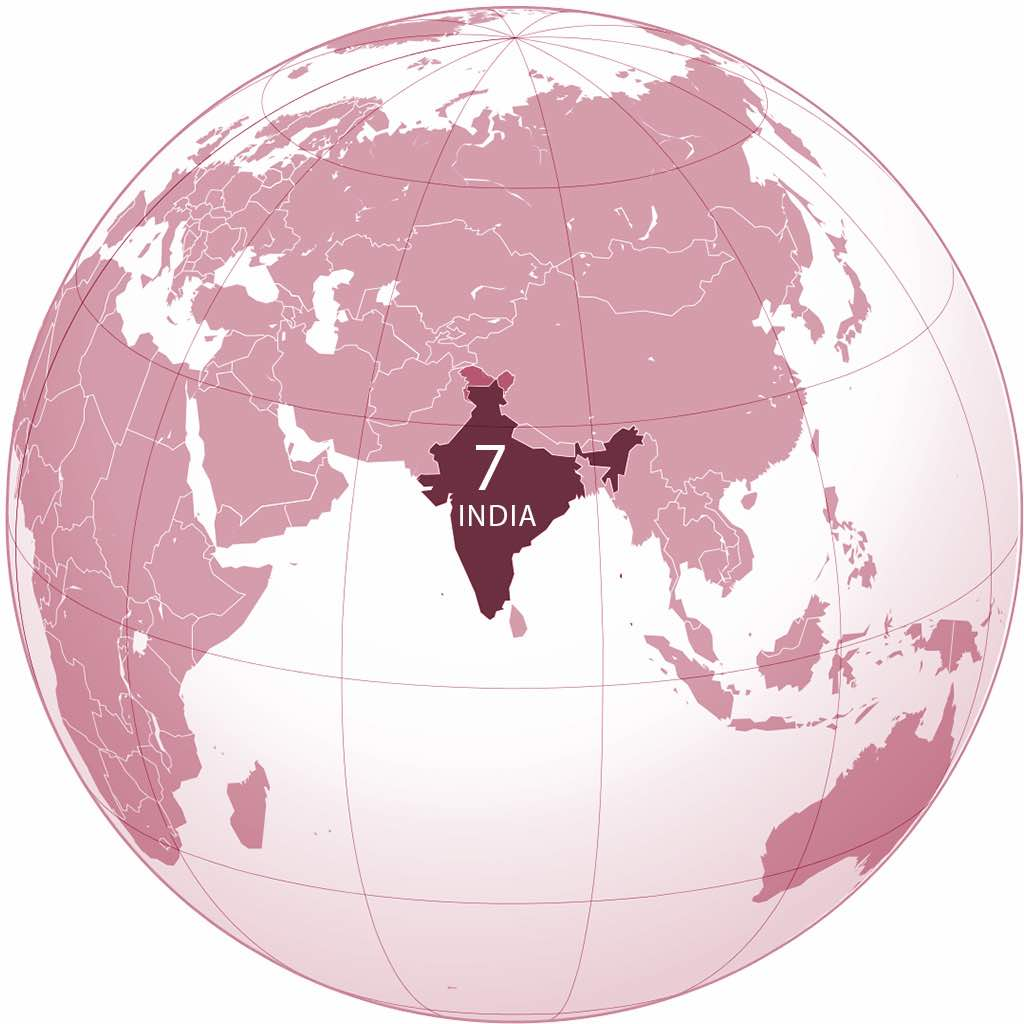 India World Map - by Ssolbergj/Wikimedia - created with the Generic Mapping Tools