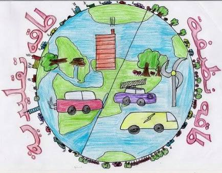 موضوع رسم عن التلوث البيئي بالقلم الرصاص