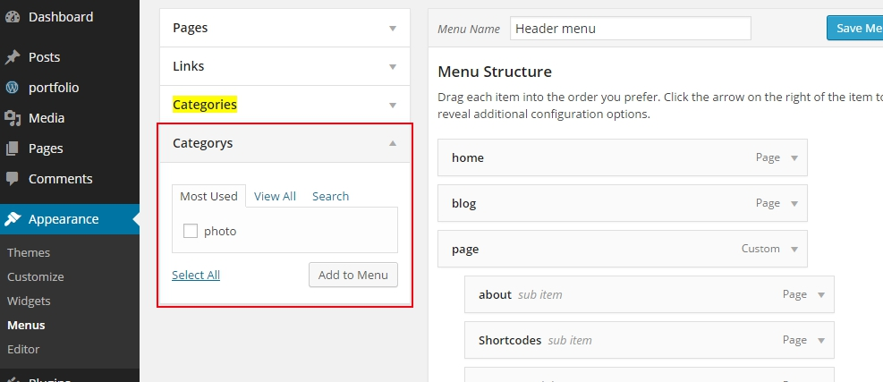 wordpress taxonomy in menu wordpress