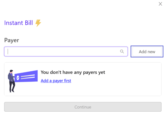 billing options add a new payer screen