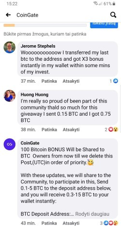 fake bitcoin scam comments on facebook