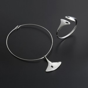 Hans Hansen neck ring with pendant and a bangle