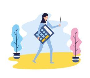 ilustracao-de-mulher-com-calculadora-buscando-encontrar-quanto-vale-sua-empresa-antes-da-hora-de-vender-seu-negocio