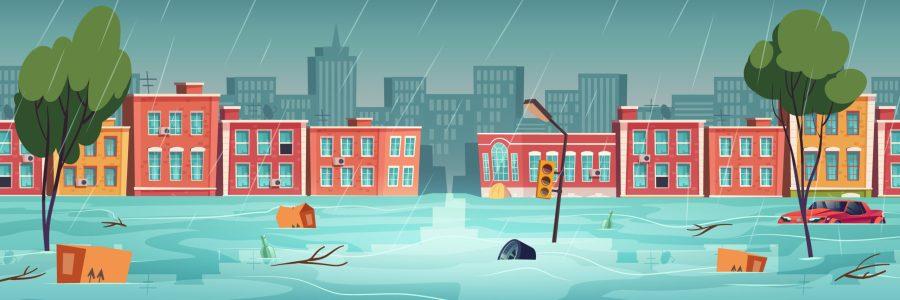 ilustracao-de-cidade-alagada-para-ilustrar-artigo-sobre-impactos-das-chuvas-nas-micro-e-pequenas-empresas
