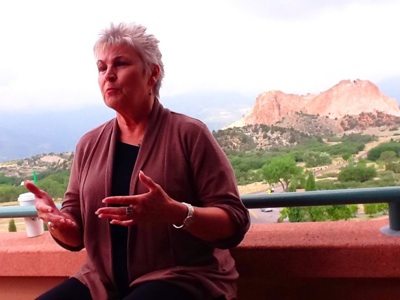 Former Colorado Springs Mayor Marylou Makepeace at 'historian interview' during the branding process.
