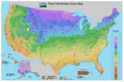 USDA Plant Hardiness Zone Map, 2012. Agricultural Research Service, U.S. Department of Agriculture. Accessed from http://planthardiness.ars.usda.gov.