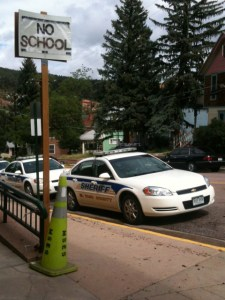 Outside the Incident Command Center in Manitou Springs Thursday afternoon, in between rain storms.