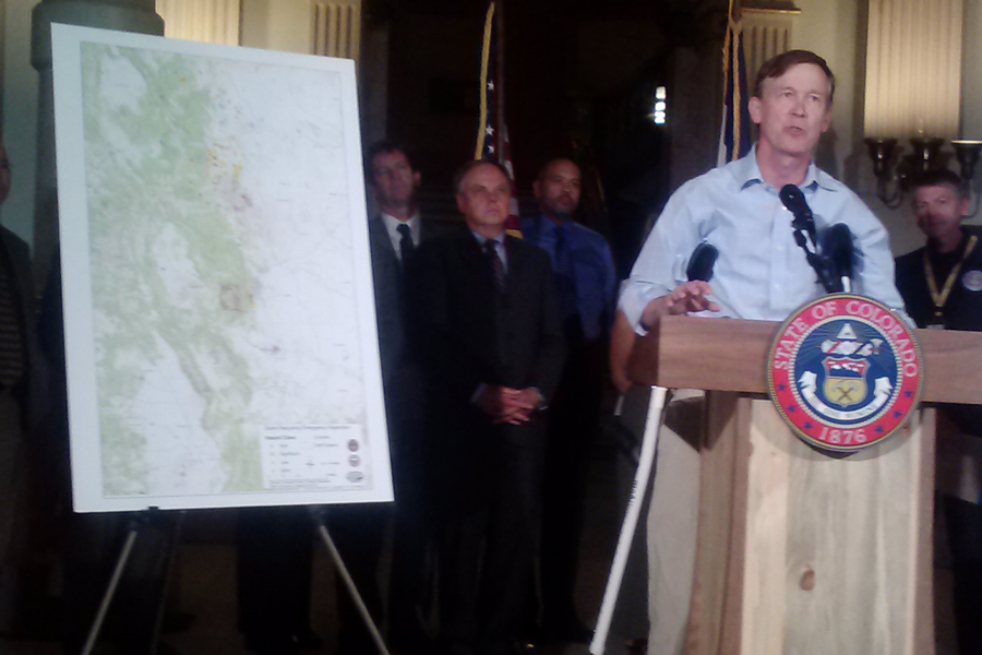 Governor Hickenlooper gives an update on flood damage.