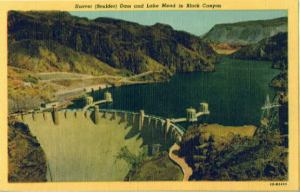 An old postcard depicting the Hoover Dam and Lake Mead.